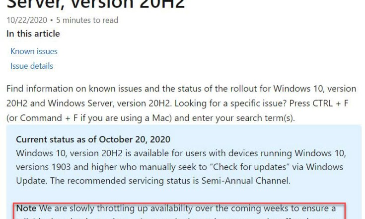 "20H2 status says MS is ""slowly ramping up availability."" No lie!"