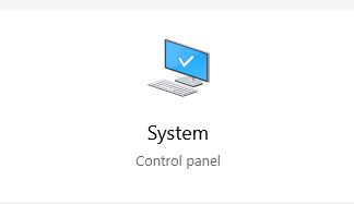 """Even though its says System/Control Panel you still go to """"About."""""""