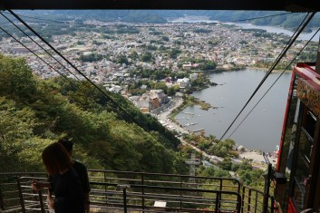 A view down the cable car