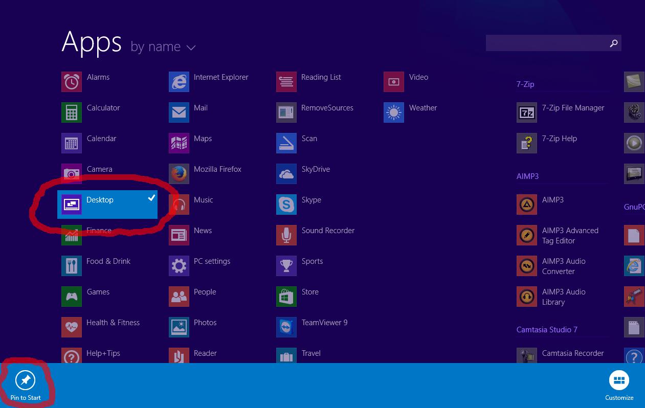 desktop tile is missing on the start