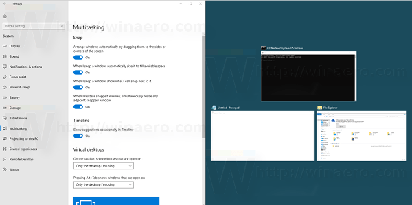 Disable the Aero Snap feature in Windows 10