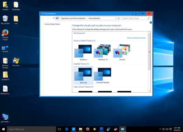 Get different active and inactive windows in Windows 10