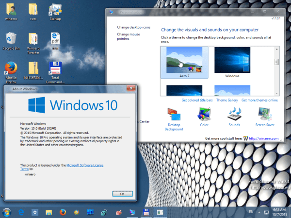 Get Windows 7 theme for Windows 10