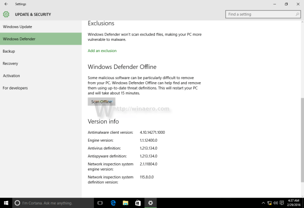 How to activate windows 10 professional offline how to how to perform an offline scan with windows defender winaero activated settings jpg ccuart Gallery