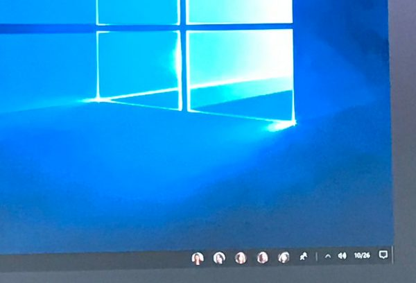 Screenshot of the TaskBar where there is also now a new icon for the People experience.