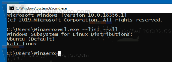 List Available WSL Linux Distros in Windows 10