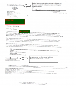 Scam Letter Bank of America001