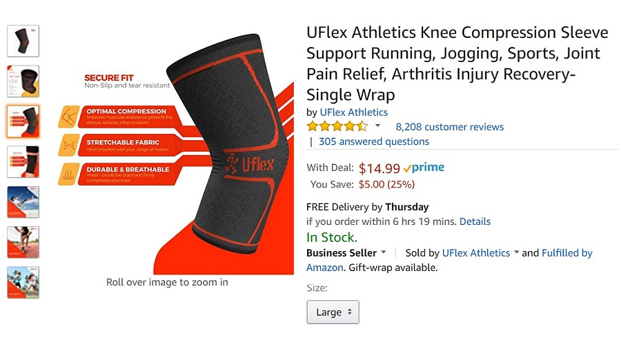 UFlex Athletics Knee Compression Sleeve Support