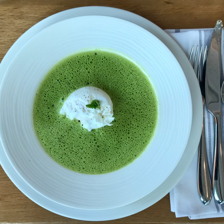 Pea & mint soup with ham hock & poached egg