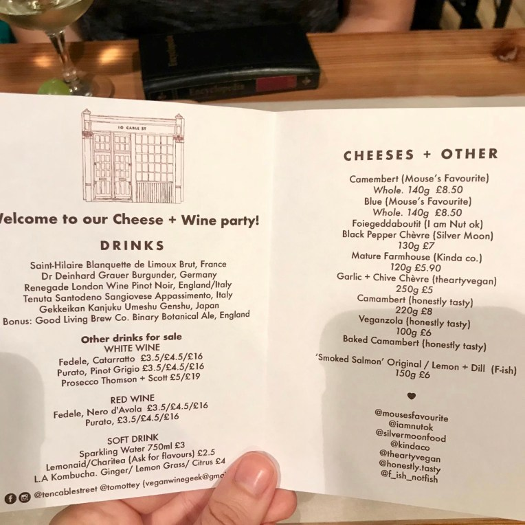 The menu for the event, a list of the vegan cheeses on the right and on the left the drinks