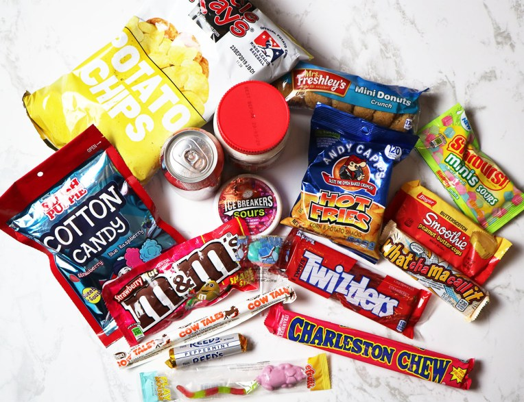 An above picture of the sweets and snacks huddled together