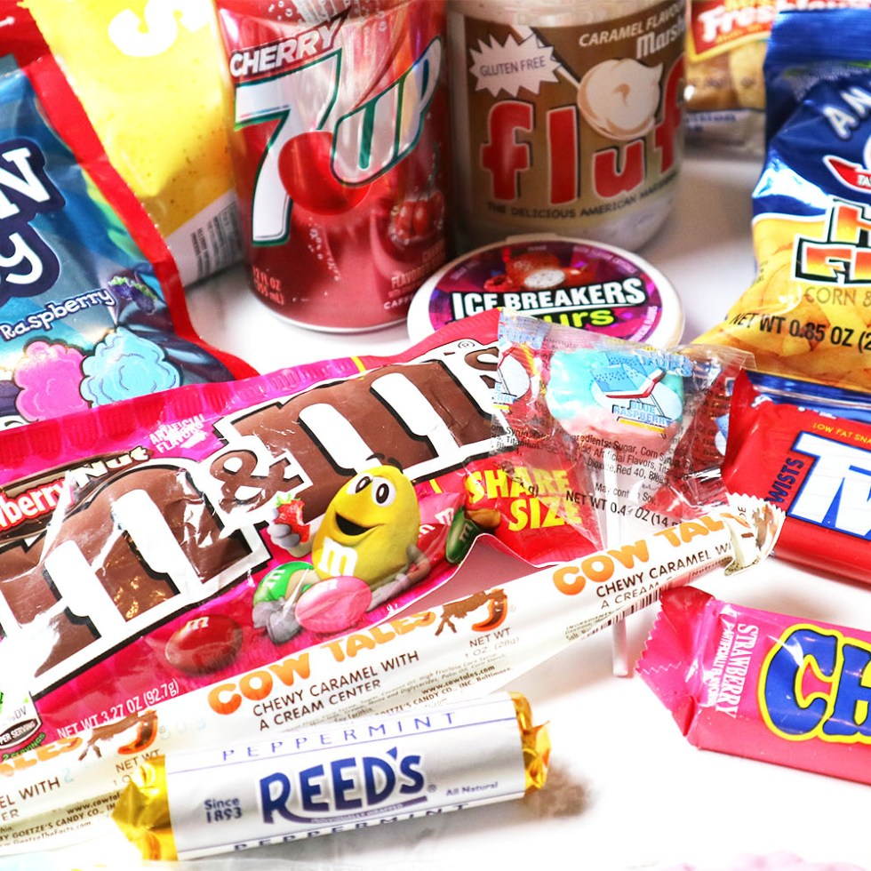 Sweets and snacks gathered together