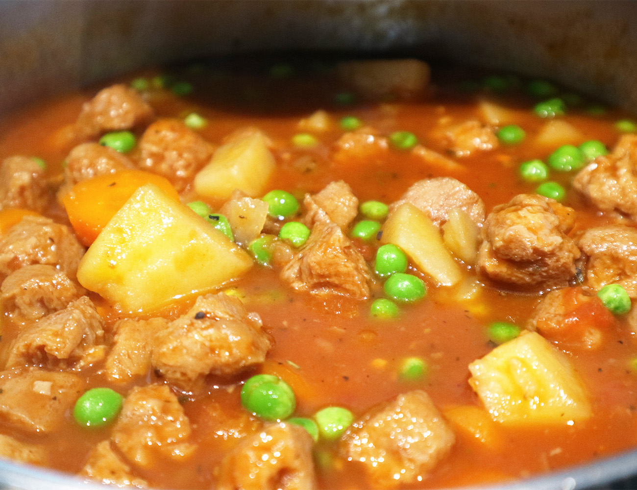 'beef' stew in a large pan