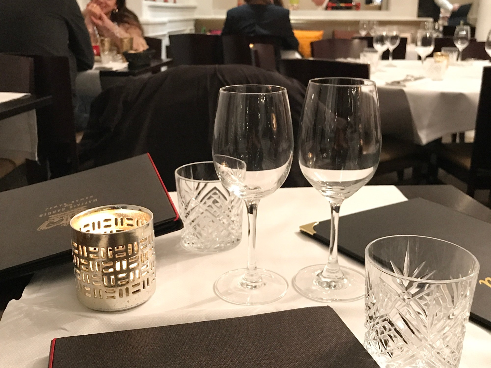 A table for two with elegant wine glasses and two menus