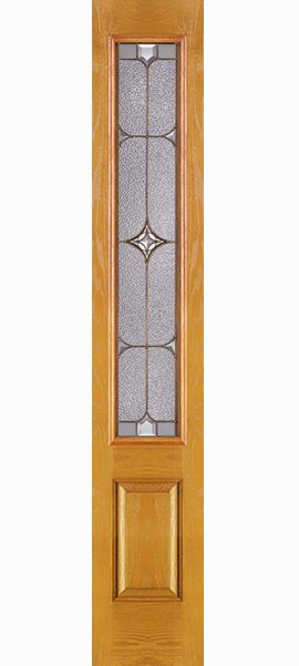 Oak Grain 1 Panel 3/4 Lite Sidelite with Astrid glass