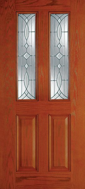 Oak Grain 2 Panel Twin 1/2 Lite with Aurora glass