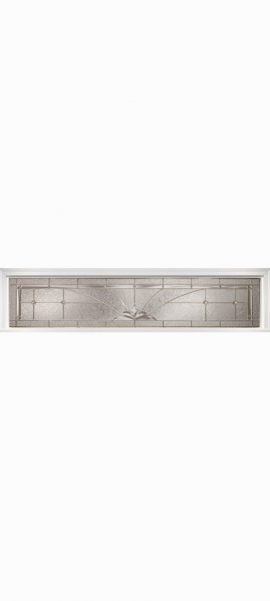 Smooth White Rectangle Transom with Heirlooms glass