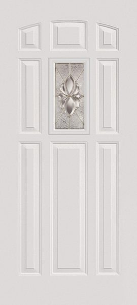 Smooth White 8 Panel Center Lite with Heirlooms glass