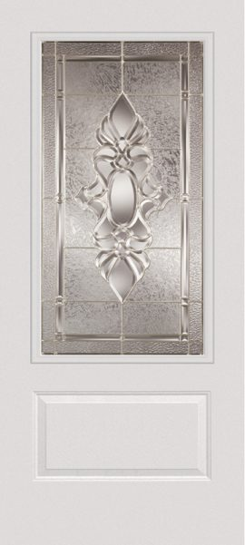 Smooth White 1 Panel 3/4 Lite with Heirlooms glass