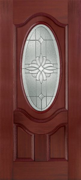 Mahogany 2 Panel 3/4 Lite Oval Deluxe with Laurel glass