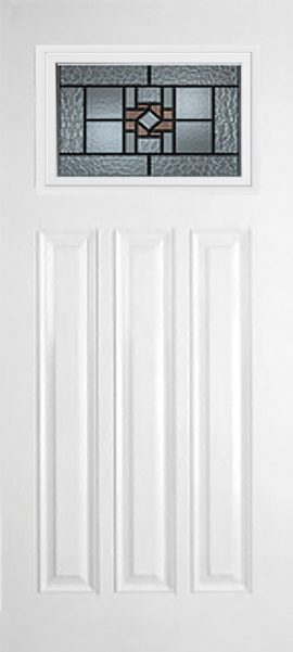 Smooth White 3 Panel Craftsman with Mission Ridge glass