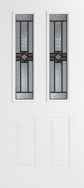 Smooth White 2 Panel Twin 1/2 Lite with Mission Ridge glass