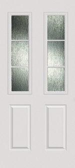 Smooth White 2 Panel Twin 1/2 Lite 3L with Rain glass