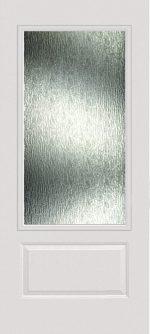 Smooth White 1 Panel 3/4 Lite with Rain glass