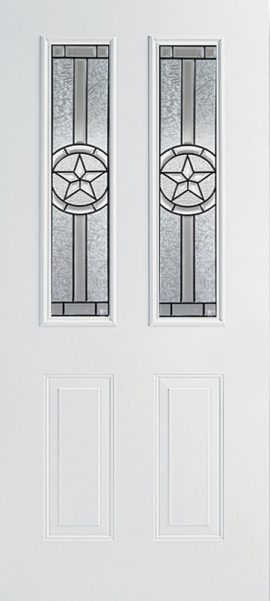 Smooth White 2 Panel Twin 1/2 Lite with Radiant Star glass