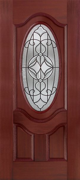 Mahogany 2 Panel 3/4 Lite Oval Deluxe with Renfield glass