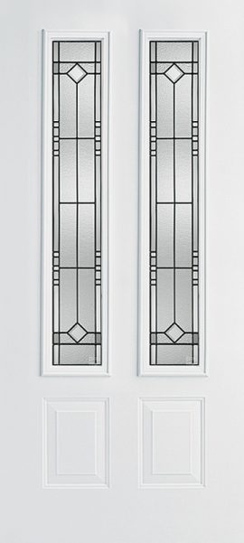 Smooth White 2 Panel Twin 3/4 Lite with Riverwood glass