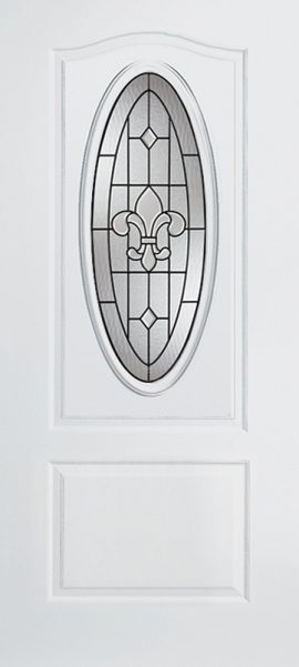 Smooth White 1 Panel 3/4 Lite Oval Elite with St. Charles glass