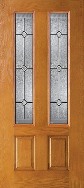 Oak Grain 2 Panel Twin 3/4 Lite with St. Charles glass
