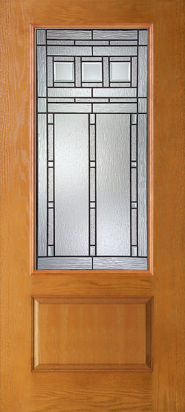 Oak Grain 1 Panel 3/4 Lite with Vintage Craftsman glass
