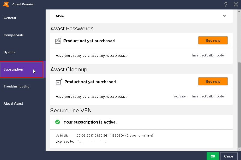 Avast Secureline VPN license file