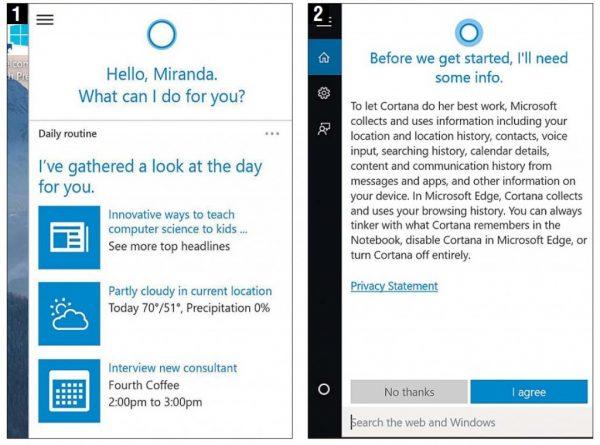 แอปพลิเคชัน Cortana ใน Windows 10