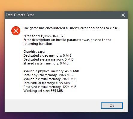 """Fatal Error"" DirectX"