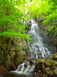 The waterfall at Italian Gardens, one of several along the Palisades, is in full spate...