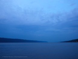 Looking north up the Hudson in the dusk