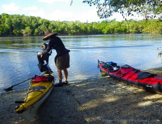 We land for an attempted lunch at the Lopez River campground
