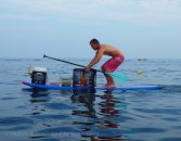A few miles into the race, I just had to snap a few photos of this man tending his lobster pots from a stand-up paddle board: see https://windagainstcurrent.com/2013/07/29/a-stand-up-paddle-board-earns-its-keep/