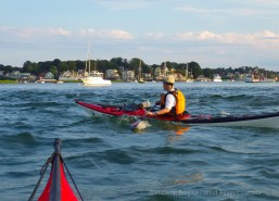 We paddle back down the Annisquam River