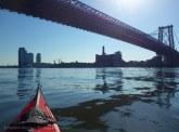 We approach the Williamsburg Bridge