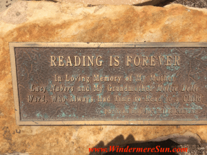 "Windermere Library ""Reading Is Forever"" plaque (credit: Windermere Sun-Susan Sun Nunamaker)"