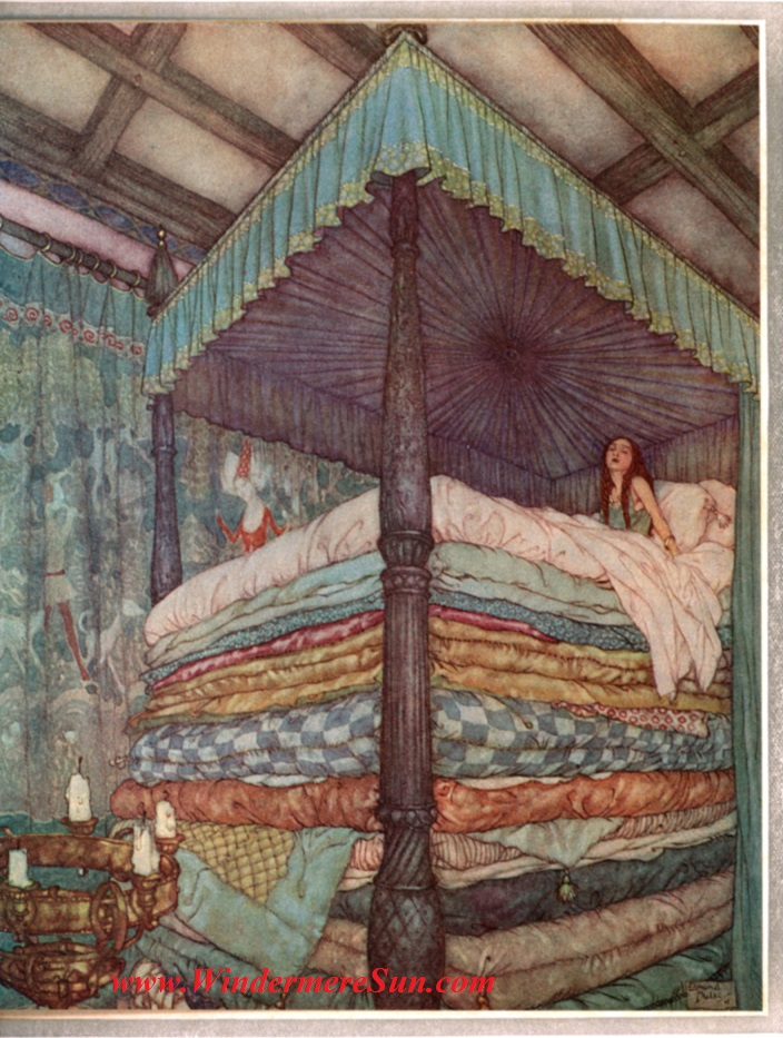 What To Do With These Old Mattresses?! (from story of Princess and Pea by Hans Christian Andersen, drawn by Edmund Dulac, now in Public Domain except 9th Circuit of USA (District of Alaska, District of Arizona, Central District of CA) and UK)