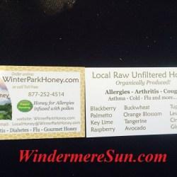 Business cards of Winter Park Honey at Windermere Farmer's Market (credit: Windermere Sun-Susan Sun Nunamaker)
