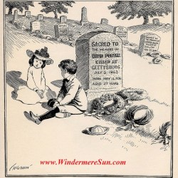 "On Decoration Day, Political cartoon c 1900 by John T. McCutcheon. Caption, ""You bet I'm goin' to be a soldier, too, like my Uncle David, when I grow up."""
