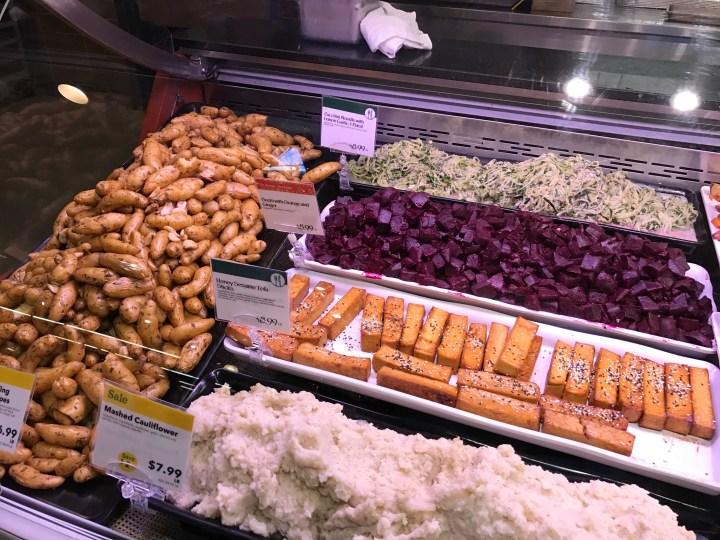 Deli-Tofu, Zucchini noodle, mashed cauliflower, beets with orange
