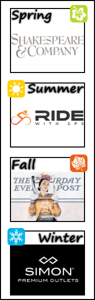 Shakespeare & Company, Ride with GPS Bicycling, Norman Rockwell Museum, Simon Premium Outlet