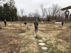 Adults walk labyirnth